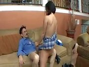 Seductive chick likes old man cock