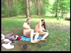 Natural teen with big boobs fucks grandpa at lake