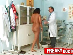 Ebony girl Manuella treated by unlicensed odd gynecologist