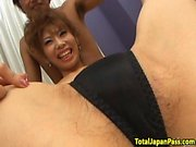 Hairy japanese teen in spitroasting threesome