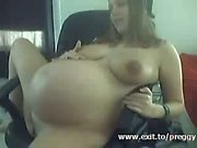 Extreme pregnant teen Marie in home solo