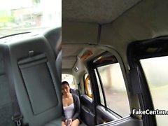Pierced tongue gal sucking cock in taxi