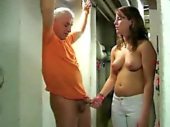 Tied handjob and denial