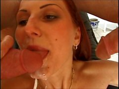 redhead double cumshot, disgusted