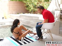 Son Takes His Brunette Step Mom Ariana Marie On The Backyard