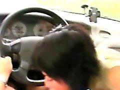 Melanie blowjobs old guy in car