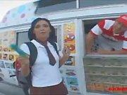 icecream truck teen in knee high white socks get long white dick creampie a