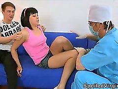 Sonia as a virgin gets spoiled with two large cocks and one sexy mouth.