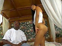 Sexy ebony slut fucking a hard black cock