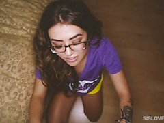 Teen with glasses pounded by her stepbro
