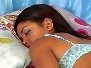 Blonde lesbian strips her dark haired lover while shes asleep