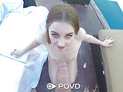 Naughty Teen redhead POV outside fuck