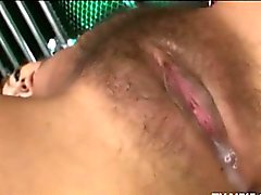 Hairy Asian Teen Double Teamed Roughly