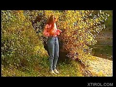 Natural German retro teen strips naked outdoor