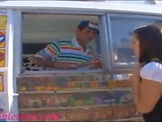 icecream truck super cute teen on roller skates shares icecr