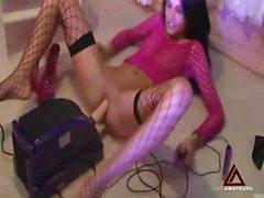 Slim webcam amateur in lingerie has toy sex