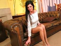 horny brunette in sexy pantyhose