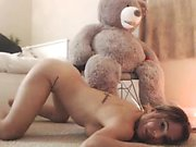 Attractive blonde teen shows off her splendid curves and lo