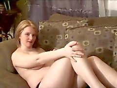 Horny Chubby preggo GF playing with her Tits and Pussy