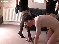 2 beautiful young English Mistresses torturing a slaves balls