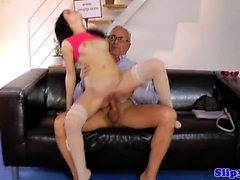 Teen fucks old man before cocksucking