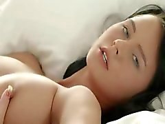 Brunette babe teasing pussy in whtie