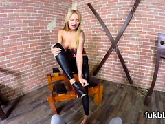 Nasty chick masturbates snatch and gets licked and poked in