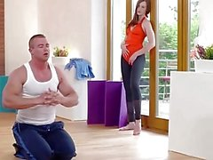 Relaxxxed - Horny Linda Sweet fucked in standing position at the gym