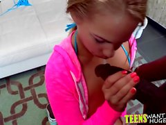 Fit teen Britney Young taking a massive black cock