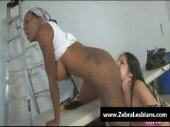 Zebra Girls - Ebony lesbian babes fuck deep strapon toys 05