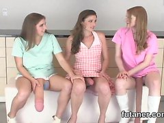 Wicked teens bang the biggest strapons and spray ejaculate a