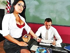 Big tit brunette Latin school teacher in heels fucks Aid in class
