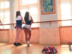 Teen cheerleaders in full outfits are gorgeous
