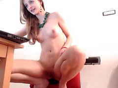 Sweet brunette solo masturbation in a car