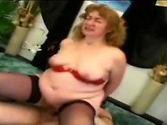 Naughty 60yo blonde grandma Jitka mounts a younger dick