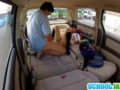Horny japanese teen fucked in a car