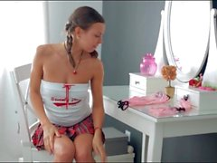 Pretty teen changes into her new pink lingerie