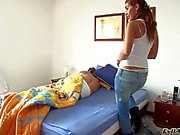 Teen latina gives head to sleeping stud Nacho Vidal