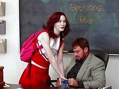 innocenthigh - redhead cheerleader rides her teachers big cock