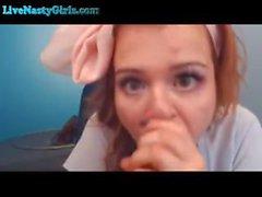 Webcam Teen Loves to Suck Her Dildo