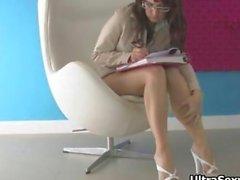 Cute secretary in hot heels showing