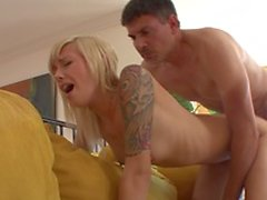 Shaved pussy blonde young girl on couch fucking juicy hot cock hard