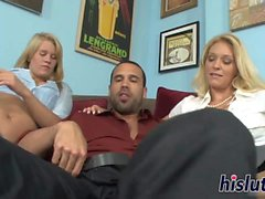 Two luscious blondes share a thick dong