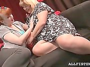 Sexy BBW mature lesbos making out with lust
