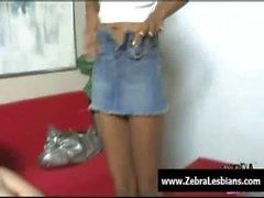 Zebra Lesbians - Sexy ebony lesbians fuck with strap-on toy 02