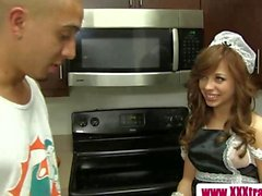 Tiny teen maid dusts the dudes dick