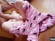 Babe in pajamas gets a big cock