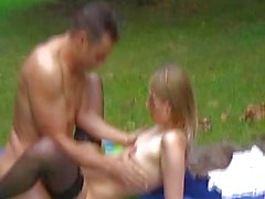 Hot amateur teen sucks and fucks outdoor with cum