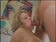 Young blonde with nice tits plays with her clit while dude eats her twat