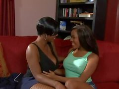 Black teen and ebony MILF toy each other's wet pussies